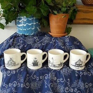 Vintage Chesapeake Bay LIGHTHOUSE Mugs Set of 4